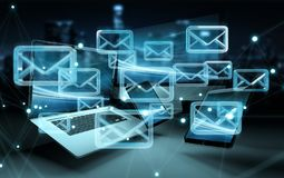 Email icon interface over modern tech devices 3D rendering Stock Photography