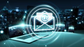 Email icon interface over modern tech devices 3D rendering. Email icon interface over modern tech devices in dark background 3D rendering Stock Images