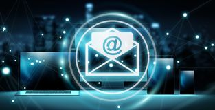 Email icon interface over modern tech devices 3D rendering. Email icon interface over modern tech devices in dark background 3D rendering Royalty Free Stock Images