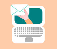 Email icon. A laptop icon about when you receive emails Stock Photo