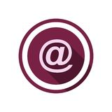 Email icon with long shadow Royalty Free Stock Photography