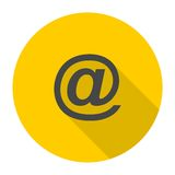 Email icon with long shadow Royalty Free Stock Images