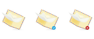 Email icon set Royalty Free Stock Photos