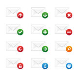Email icon set. Set of email icons on white background Stock Photography