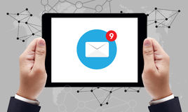 Email icon on sign on tablet pc screen royalty free stock photo