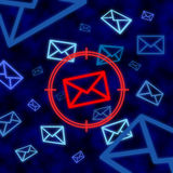 Email icon targeted by electronic surveillance in cyberspace Royalty Free Stock Photos