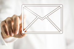 Email icon on virtual interface royalty free stock image