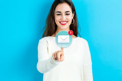 Free Email Icon With Young Woman Royalty Free Stock Image - 78382716