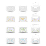 Email icons. Set of twelve email icons isolated on white background. EPS file available stock illustration