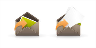 Email Icons. Two email icons isolated on white Stock Images