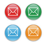 Email icons. Colorful icons for the web with an email symbol Royalty Free Stock Images