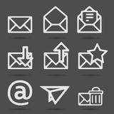 Email icons. Envelope, plane, shopping and other icons for e-mail Royalty Free Stock Image