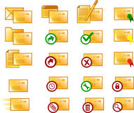 Email Icons. Various clean email icons (orange version Stock Photo