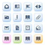 Email icons on color buttons. Royalty Free Stock Images