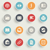 Email icons with color buttons on gray background. Stock Photos