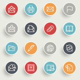Email icons with color buttons on gray background. Royalty Free Stock Images