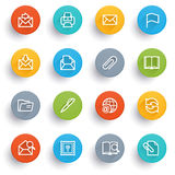 Email icons with color buttons. Royalty Free Stock Images