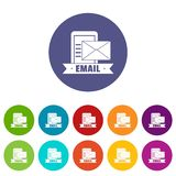 Email icons set vector color royalty free illustration