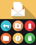 Email Icons in Flat Colors Royalty Free Stock Photography