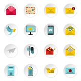 Email icons icons set, flat style Stock Images