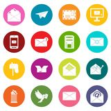 Email icons many colors set Royalty Free Stock Images