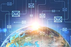 Email icons network, earth in space royalty free illustration