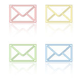 Email icons with reflection. Variety of email icons with reflection on white background Royalty Free Stock Photos