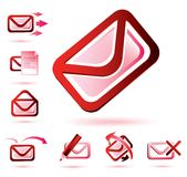 Email icons set Stock Photos