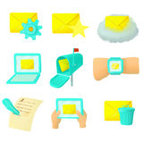 Email icons set, cartoon style. Email icons set in cartoon style. Mail and envelope elements set collection vector illustration Royalty Free Stock Images