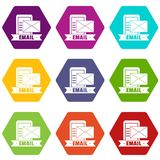 Email icons set 9 vector stock illustration