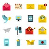 Email icons set, flat ctyle Stock Photo