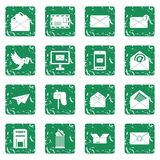 Email icons set grunge Stock Image