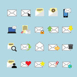 Email icons set. Royalty Free Stock Photos