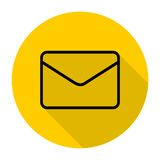 Email icons set with long shadow Stock Photos