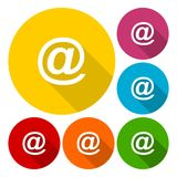 Email icons set with long shadow Royalty Free Stock Photography