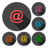 Email icons set with long shadow Stock Images