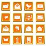 Email icons set orange Royalty Free Stock Photography