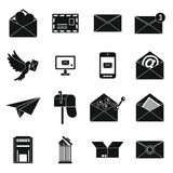 Email icons set, simple. Email icons set in simple . Postal and mailing signs set collection vector illustration Stock Photo