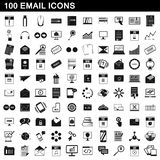 100 email icons set, simple style. 100 email icons set in simple style for any design illustration royalty free illustration