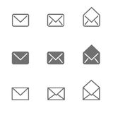Email icons set Stock Image