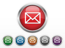 Email icons. Six colors vector illustration