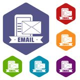 Email icons vector hexahedron stock illustration