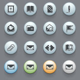 Email icons for web site on gray background. Royalty Free Stock Image