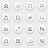 Email icons with white buttons on gray background. Royalty Free Stock Photos