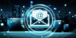 Email ikony interfejs nad nowożytnym technika przyrządów 3D renderingiem Zdjęcie Royalty Free