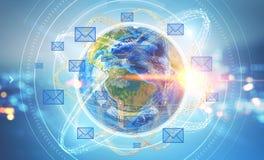 Email ikony nad ziemią, nocy miasto royalty ilustracja