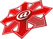 Email. Illustration of an email button with arrows Stock Image