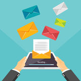 Email illustration. Sending or receiving email by tablet or smartphone concept illustration. Email marketing. Broadcast messages.  Stock Image