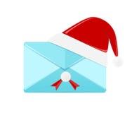 Email illustrato con il coperchio del cappello di Santa  Fotografia Stock