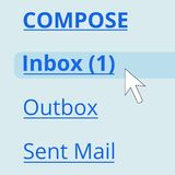 Email in the inbox. Blue stock illustration
